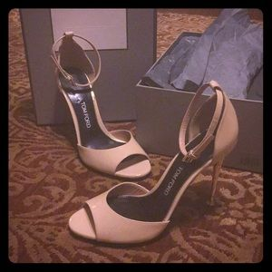 Nude Patent Ankle Wrap Peep Toe D'Orsay
